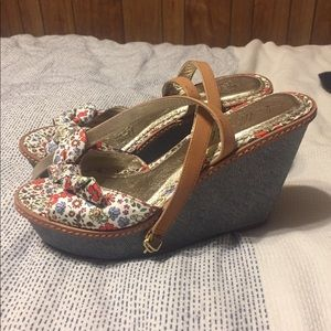 Anthropologie floral wedges, excellent condition.